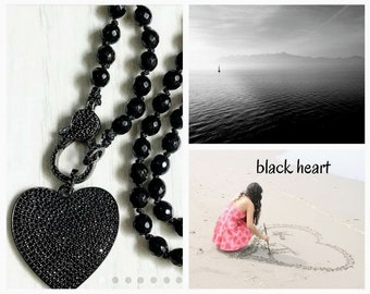 black heart gift necklace, Black heart pendant necklace, long black necklace, black heart pave necklace, long heart necklace