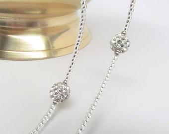 Beaded silver glasses leash; eyeglass chain; reading glasses holder; lanyard for glasses; glasses chain; eyeglasses necklace holder