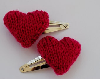 Knitted Heart Hair Clip in Pink