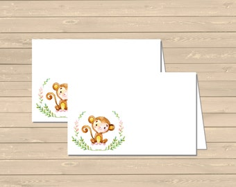 Pink Monkey Printable Food Tent Cards Place Cards, Monkey Buffet Place Cards, DIY Food Table Signs, Monkey Decoration Instant Download 306-P