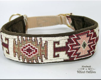 Dog collar TAPIS, Martingale, natural red