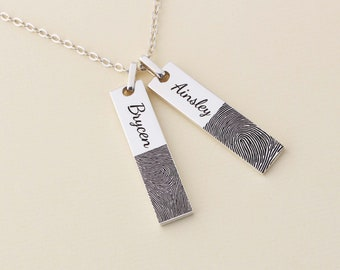 Actual Fingerprint Two Bar Necklace - Keepsake Jewelry - Engraved Necklace - Gift For Dad - Silver Jewelry