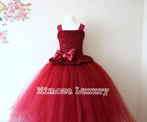 Burgundy Flower Girl Dress, burgundy bridesmaid dress, couture flower girl gown, bespoke girls dress, tulle princess dress, wine tutu