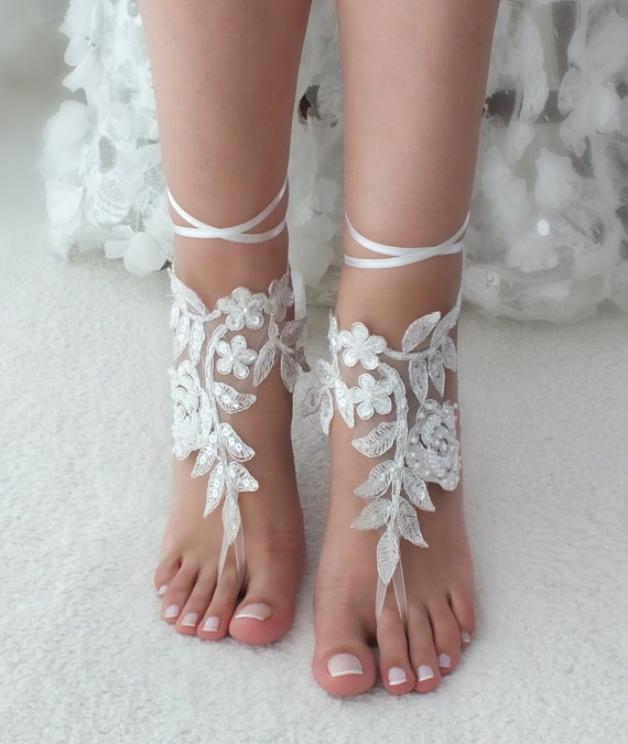 91b9ef9ba540 Wedding lace anklet Ivory Bridesmaid gift Bridal lace barefoot sandals  footless sandals sandals wedding Bridal Bridal ...