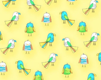 Studio E Koala Party Yellow Small Birds fabric - 1 yard