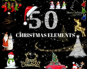 50 Christmas Elements PNG DIGITAL FILES