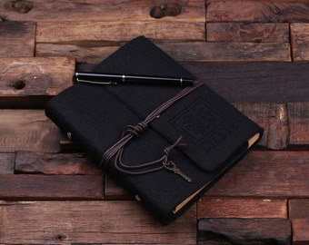 Black Monogrammed Personalized Felt Engraved Notebook Diary, Journal, Sketchbook , Bridesmaid Holiday Christmas Customized Gift