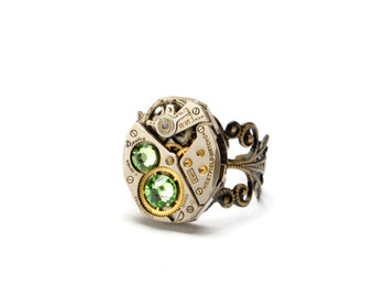 PERIDOT Steampunk Ring AUGUST Steam Punk Ring Steampunk Watch Ring Light Green Steam Punk Ring Steampunk Jewelry By Victorian Curiosities