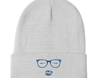 Cute Glasses Eyelashes & Lipstick, Talk Nerdy To Me Inspired, Lipstick Lover, Makeup Lover, Cute and Girly Knit Beanie