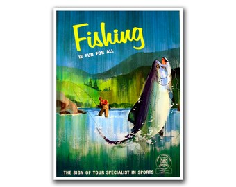 Fishing Art Vintage Sports Print Man Cave Poster (H25)