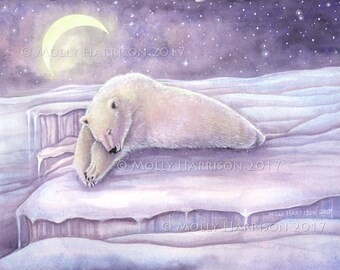 Sleeping Bear - Original Watercolor and Mixed Media Painting by Molly Harrison - Polar Bear - North Pole - Totem - Mystical - Winter