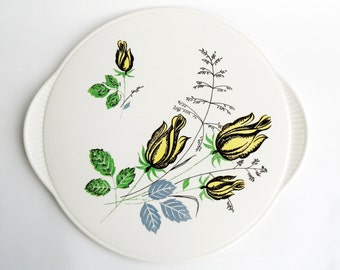 Vintage ceramic cake plate cup cake stand midcentury modern ceramic dish vintage retro flowers yellow roses pizza cheese platter party
