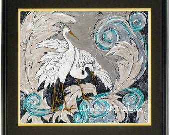Bird art, Modern bird art, white birds, Egrets, Pittsburgh artist, by Johno Prascak, Johnos Art Studio