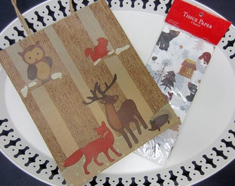 Woodland Gift Bag & Tissue Paper Set Brown Forest Animals Trees Owl Fox Deer Squirrel Hedgehog Bear Winter Sparkling Snow Woodsy Rustic