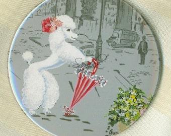 Purse Mirror White Poodle  n Parasol Paris Champs Elysee 2 sizes available