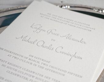 Clean & Simple Letterpress Invitation DEPOSIT