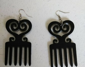 Black Duafe Adinkra African Wooden Earrings Wholesale/ Earrings/ Hand Made Earrings/Women's Earrings/ Afrocentric Earrings