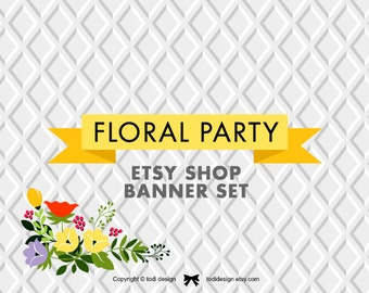 Floral Party - Premade Etsy Shop Banner set includes shop profile and Shop cover designs