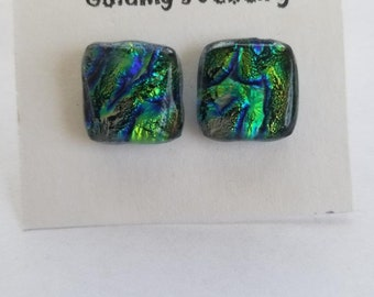 Blue/Green Dichroic Glass Post Earrings