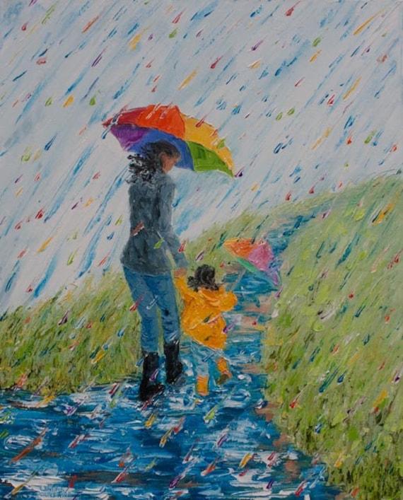 Original Painting Black Mother Daughter in Rain