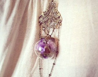 Terrarium Bottle Necklace, Cute Necklace, miniature bottle charm necklace, gifts for woman, bottle pendant, flower bottle, lavender necklace