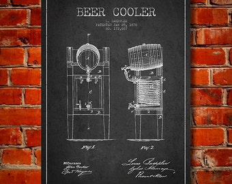 1876 Beer Cooler Patent, Canvas Print,  Wall Art, Home Decor, Gift Idea