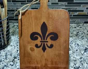 Rustic Chopping Board IPad Holder - Fleur-de-lis