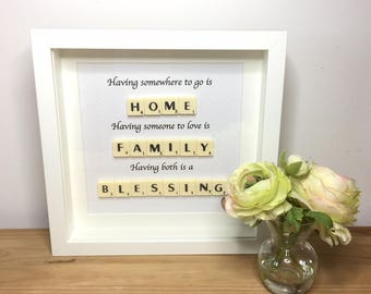 Scrabble wall art, Scrabble picture, Picture for the home, Family picture