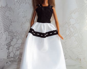 Barbie gown 60's style handmade in taffeta- black on white