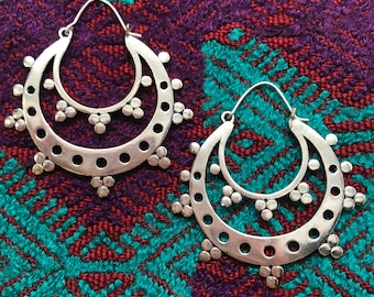 Silver Plated Tribal Half Moon Hoop Earrings