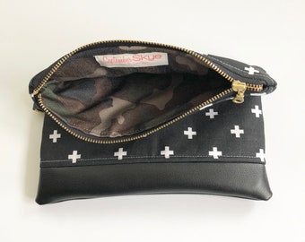 Ready to ship! Black swiss cross foldover clutch with camo interior