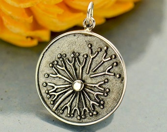 Sterling Silver, Dandelion Charm, Charm with Granulation, Granulation, Wish Charm, Silver Dandelion, Silver Wish Charm, Make a Wish