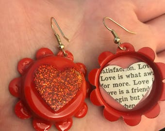 Love- bottle cap earrings