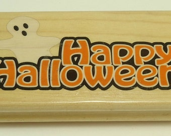 Happy Halloween With Ghost Halloween Wood Mounted Rubber Stamp By The Canadian Maple Collection