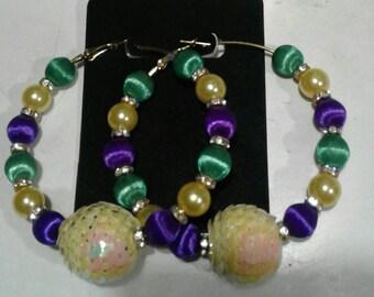 Mardi gras  hoop earrings
