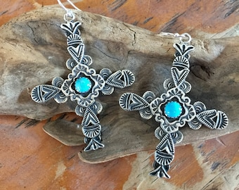 E38 Multi Layered Carmel Cross Sterling Silver with Turquoise Southwestern Santa Fe Style Native