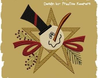 Primitive Machine Embroidery Design-Star Snowman--Version 1--5X7--INSTANT DOWNLOAD