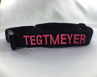 """Luggage Strap - 1 1/2"""" wide - Personalized, Embroidered - 12 colors to choose from"""