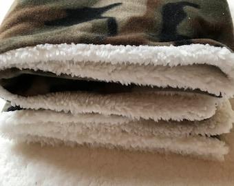 Military camouflage fur lined fleece baby blanket, crib blanket, baby bedding, car blanket, security blanket, blanket, baby blanket