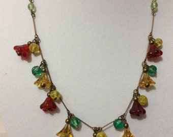 Art Deco Czech flower crystal glass necklace