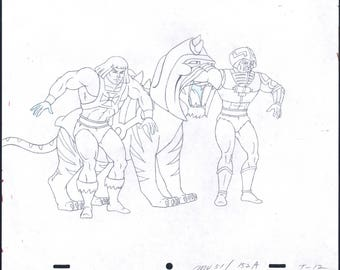 He-Man Masters of the universe Multi-Character Production Animation Cell Drawing