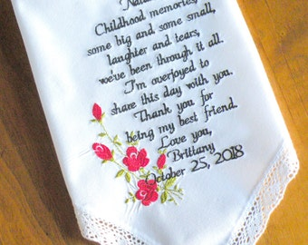 Wedding Gift, Best Friend, Embroidered Wedding Handkerchief, Red Roses, Wedding Day Gift for my best friends by Canyon Embroidery