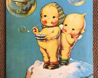 Kewpies with Ice Cream 1977 Blank Greeting Card Rose O'Neill - Kitschy Cute Cabinet Card - Friendship Card for Doll Lover - Kewpie Ephemera