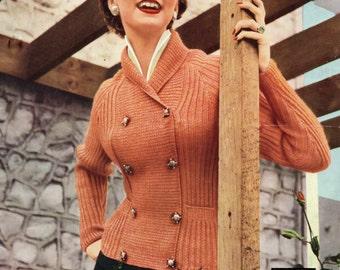 Pdf Vintage Knitting Pattern Double Breasted  Cardigan Jacket 1940 50's Emu 245