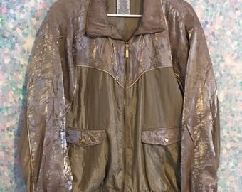 Vintage Gold Windbreaker Jacket with Metallic Accents