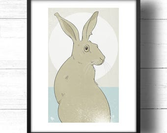 Golden Hare No.1 - A3 Print - Wild Hare with Moon, based on Golden Ratio / Golden Section and Fibonacci Sequence