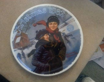 "Norman Rockwell Collectible Plate ""Christmas Courtship"""