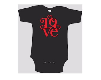 Love Heart Baby Kids Children Shirt Bodysuit Valentines Day Many Sizes Colors Jenuine Crafts