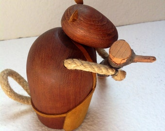 60s J. Bentsen for Broste Denmark Teak Beaver with log of wood Signed Rare