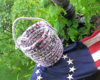 AMERICAN textile art Basket  PATRIOTIC BUCKET  number two